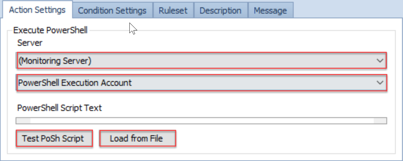 SentryOne Conditions pane Action Settings Execute PowerShell