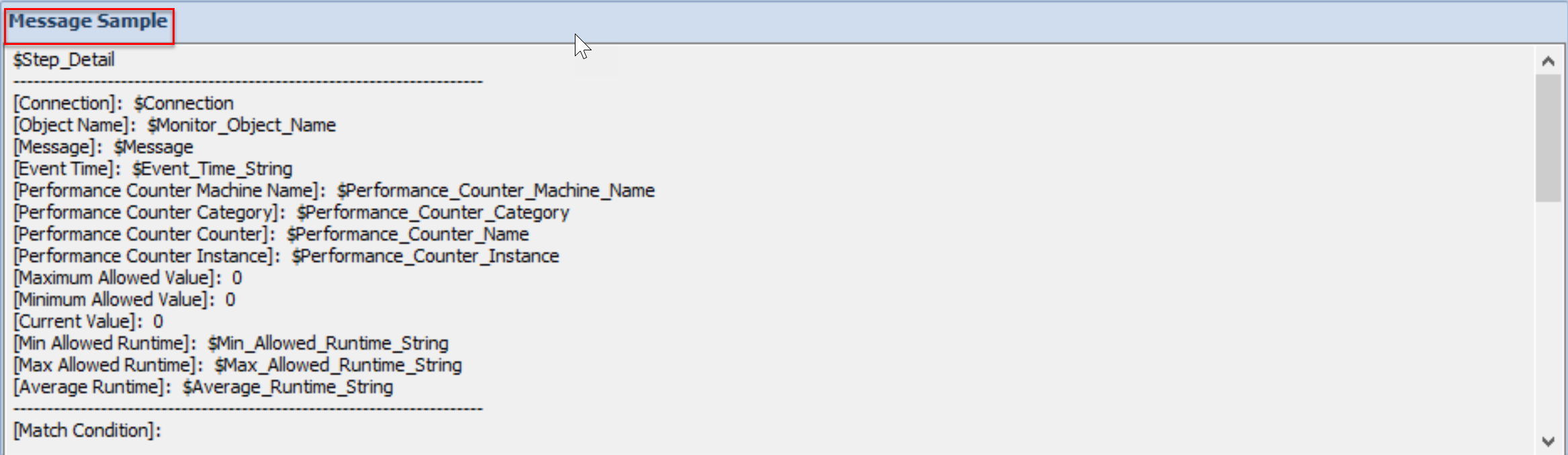SentryOne Message Editor Message Sample pane