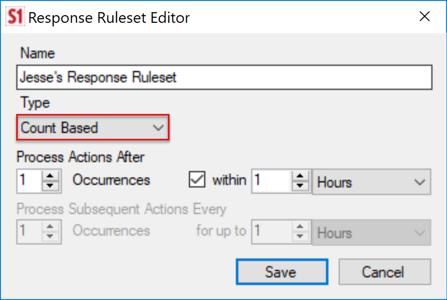 SentryOne Response Ruleset Editor Count Based