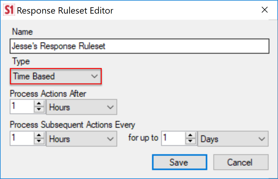 SentryOne Response Ruleset Editor Time Based