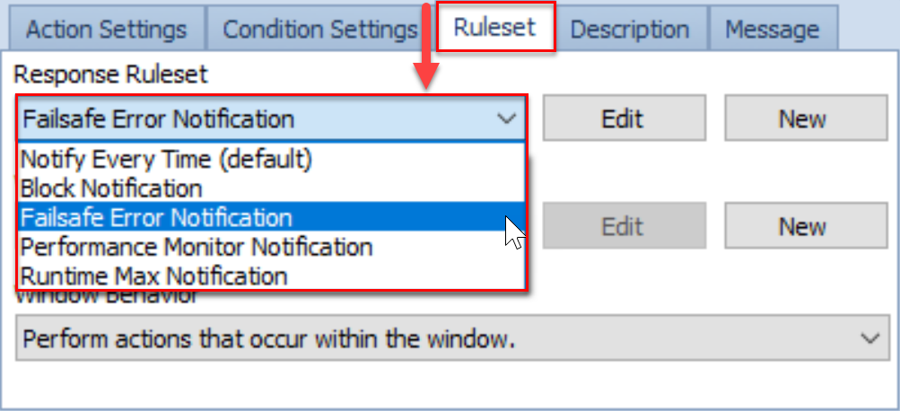 SentryOne Condtions pane Ruleset tab FailSafe Error Notification