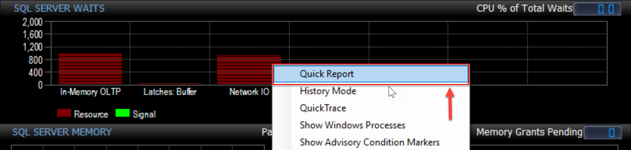 SentryOne Performance Analysis Dashboard select Quick Report in Sample mode