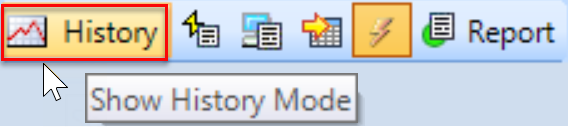 SentryOne Sample mode toolbar History mode button