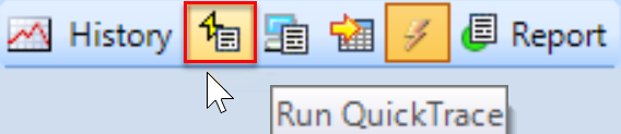 SentryOne Sample mode toolbar Run QuickTrace button