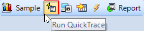 SentryOne History mode toolbar Run QuickTrace button