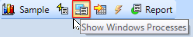 SentryOne History mode toolbar Show Windows Processes button