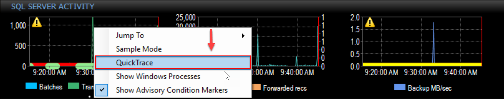 SentryOne Performance Analysis Dashboard select QuickTrace from the context menu