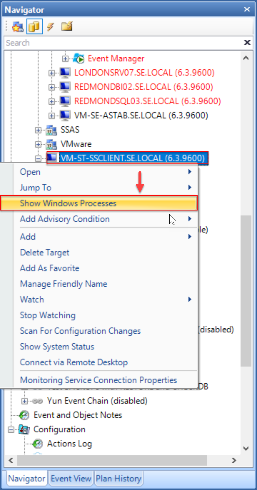 SentryOne Navigator Show Windows Processes from the context menu