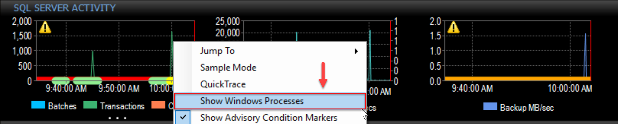 SentryOne Performance Analysis Dashboard Show Windows Processes context menu
