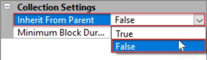SentryOne Settings pane Collections Settings change Inherit From Parent to False