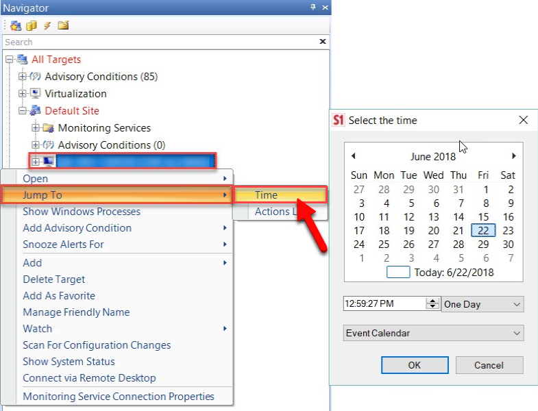 Jump to Time in SentryOne SQL Server Calendar View