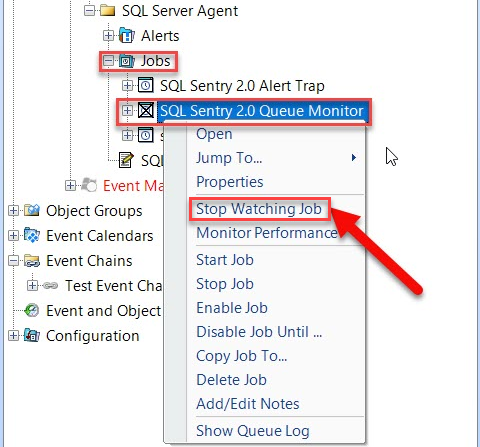 Stop Watching SentryOne SQL Server Event Object