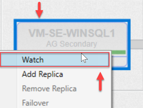 SentryOne AlwaysOn tab Watch context menu option