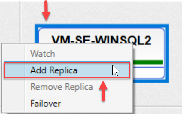 SentryOne AlwaysOn tab Add Replica context menu option