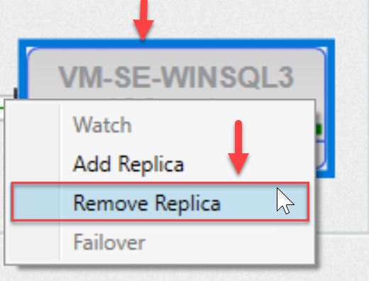SentryOne AlwaysOn tab Remove Replica context menu option