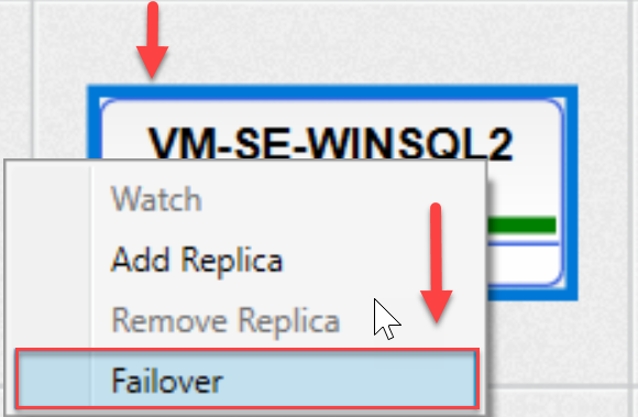 SentryOne AlwaysOn tab Failover context menu option