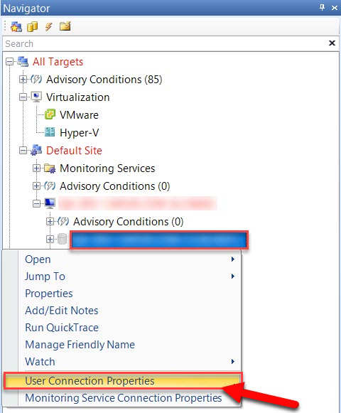 SentryOne SQL Server User Connection Properties