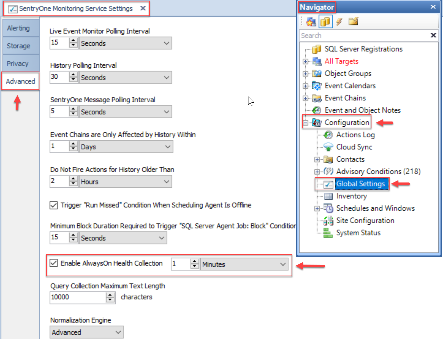 SentryOne Monitoring Service Settings Advanced tab Enable AlwaysOn Health Collection setting