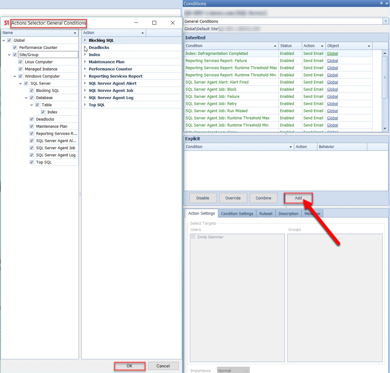 SentryOne SQL Server Actions Selector Window