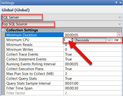 SentryOne Configuring Settings: Minimum Duration