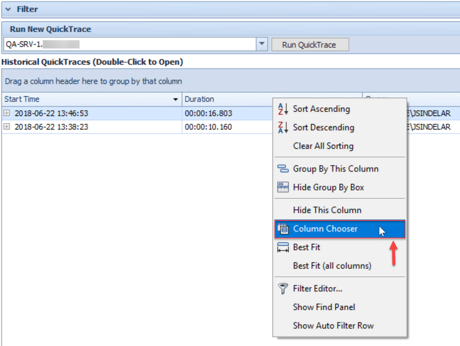 SentryOne QuickTraces tab Column Chooser context menu option