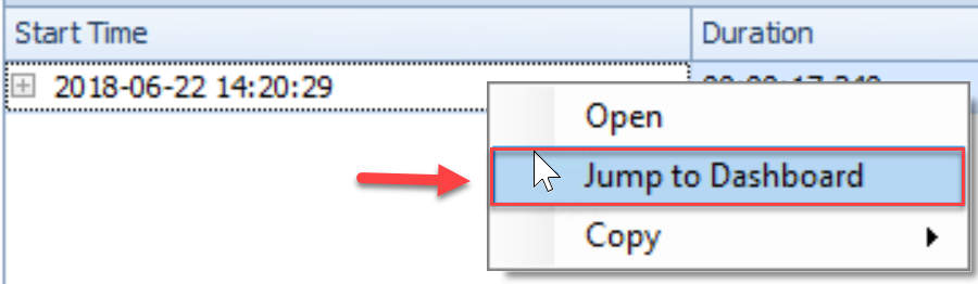 SentryOne QuickTraces tab Jump To Dashboard context menu option