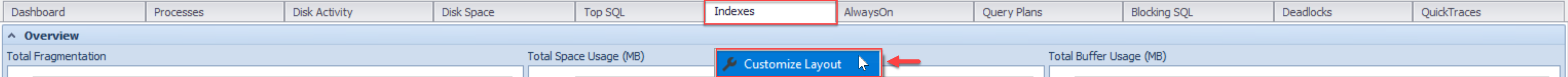 SentryOne Indexes tab Customize Layout