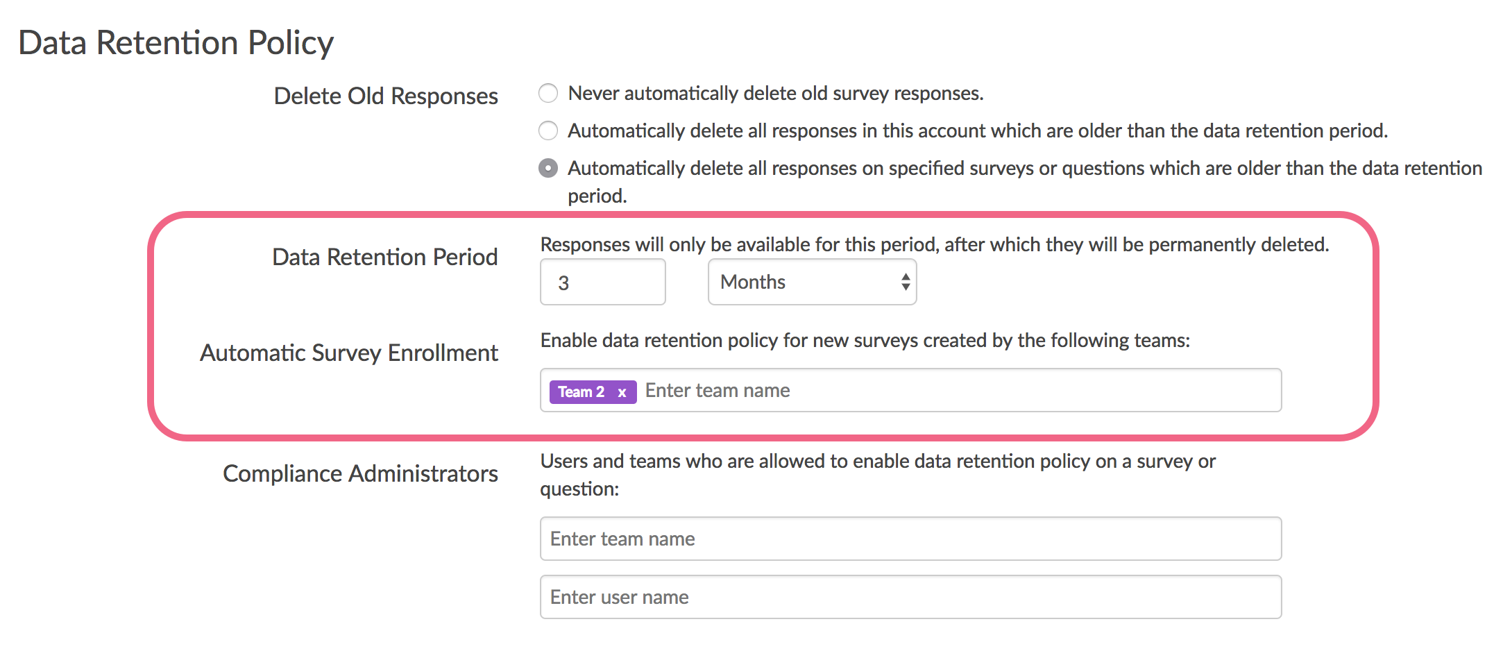 DRP Setting: Automatically delete responses on specified surveys