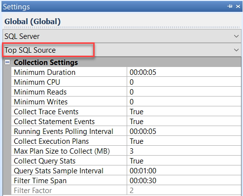 SentryOne Top SQL Source Settings