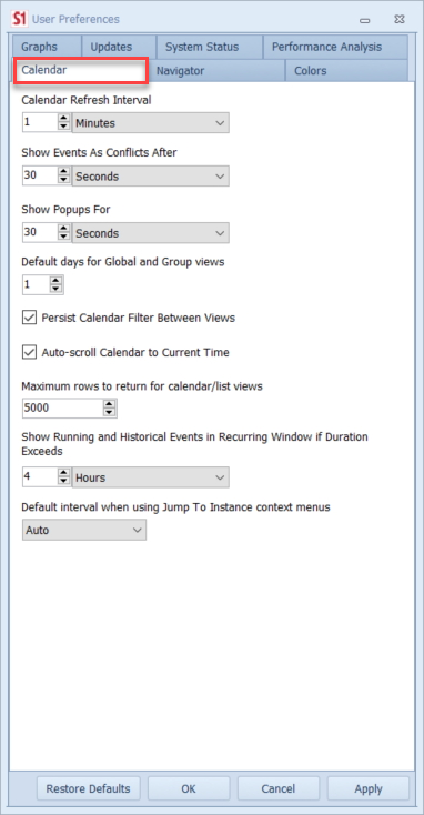 SentryOne Calendar Settings