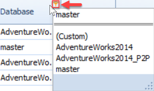 SentryOne Top SQL tab Filter button