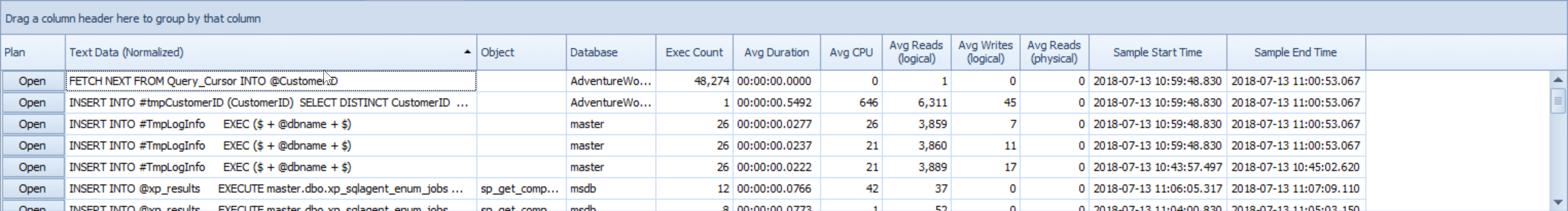 SentryOne Top SQL Sort Ascending
