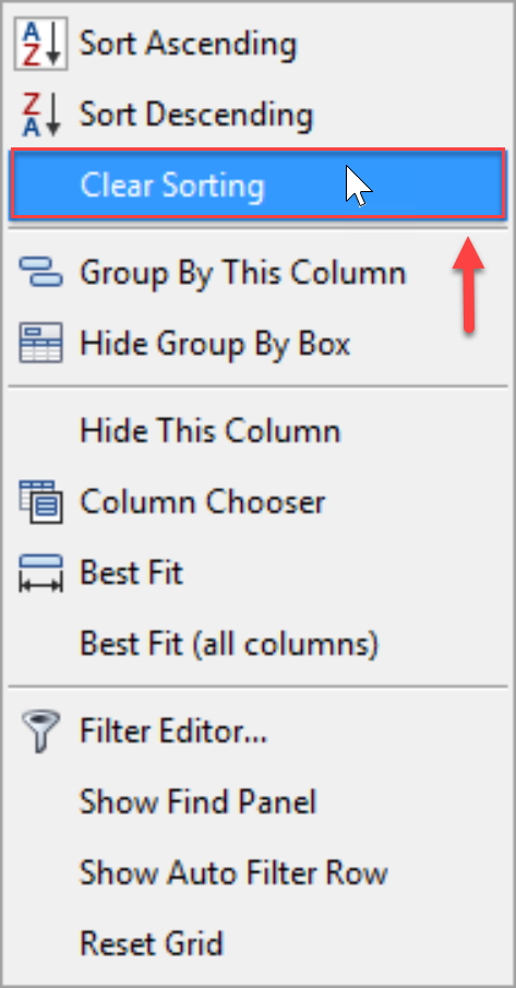 SentryOne Top SQL Clear Sorting context menu option