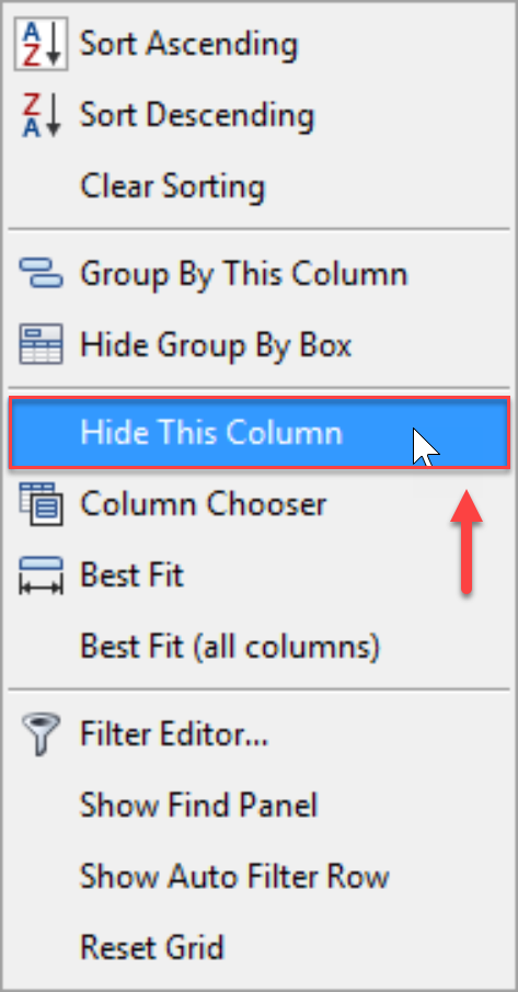 SentryOne Top SQL Hide This Column context menu option