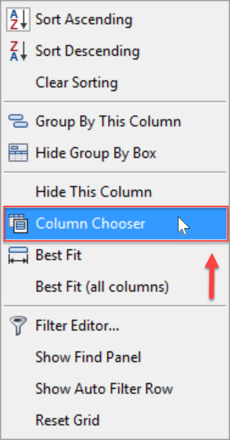SentryOne Top SQL Column Chooser context menu option
