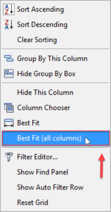 SentryOne Top SQL Best Fit (all columns) context menu option