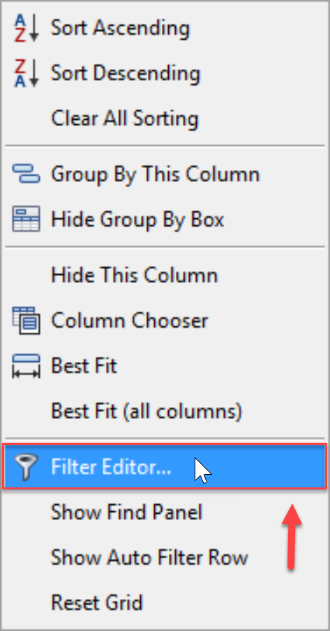 SentryOne Top SQL Filter Editor context menu option