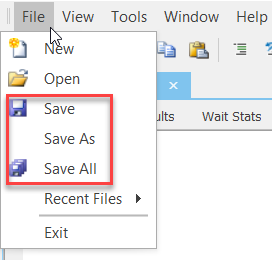 SentryOne File Save Buttons