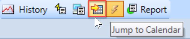 SentryOne Sample mode toolbar Jump to Calendar button