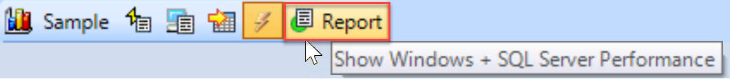 SentryOne History mode toolbar Report button