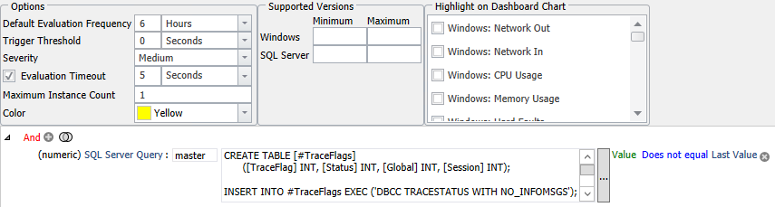 SentryOne Trace Flags Total Number Changed