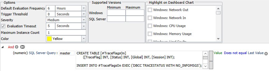 SentryOne Trace Flags Number Turned On Changed