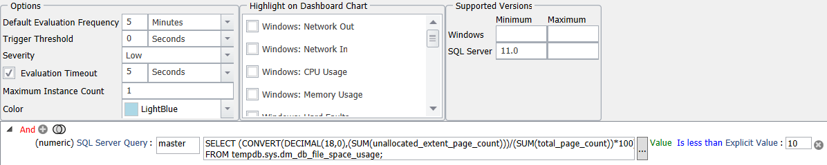 SentryOne Tempdb Low Unallocated Page Count