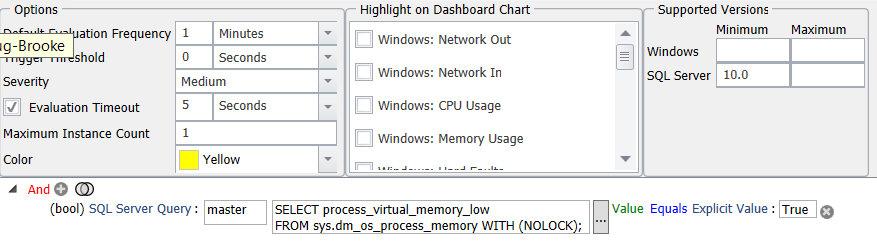 SentryOne SQL Server Process Virtual Memory Low