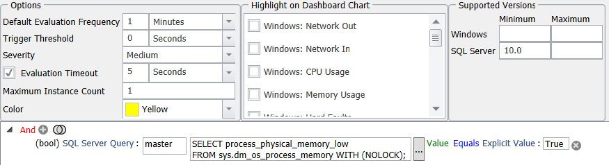 SentryOne SQL Server Process Physical Memory Low