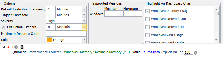 SentryOne Low Available Windows Memory
