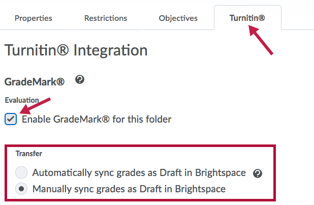 Indicates Turnitin Tab and Enable Grademark checkbox, and identifies Transfer options