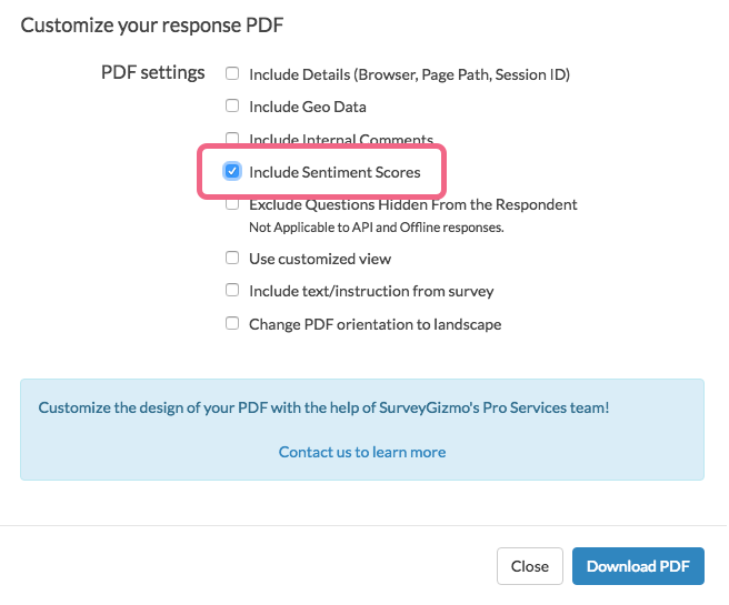 Include Sentiment Score in Response PDF