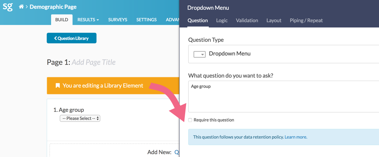 Question Library: In-question DRP Notification