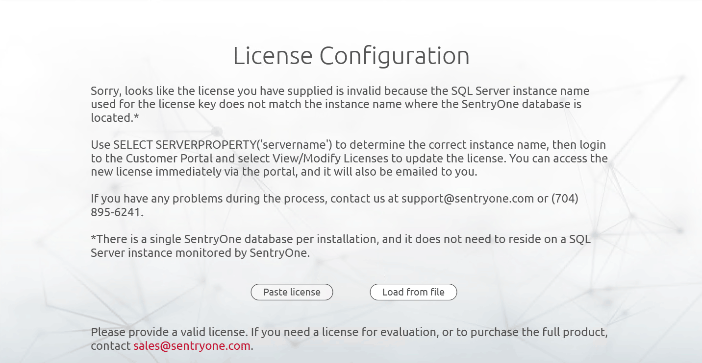 SentryOne License Configuration Error License Key Mismatch